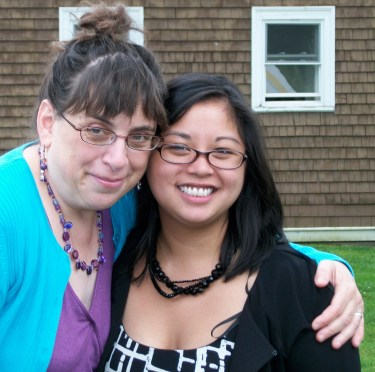 Caryn Mirriam-Goldberg, faculty, with graduating student Amanda Lacson