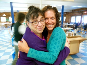 Caryn Mirriam-Goldberg with faculty member Lori Wynters, who did a workshop on song and music as medicine