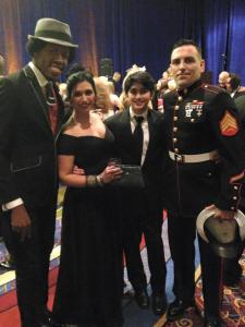 Seema, her son, a service member, and Christylez Bacon