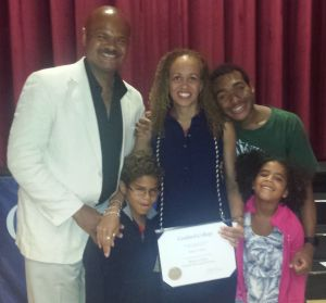 Robin after graduation with her family.