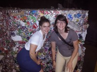 Nicolette Stosur-Bassett and friend making art out of recycling