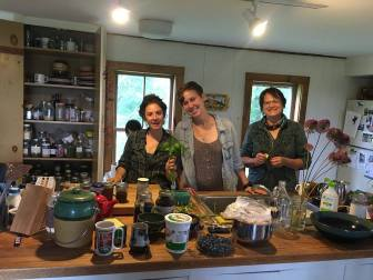 Stefania (left) with students Rachel Economy and Jan Booth in Stefania's herb-filled home